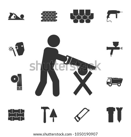 workmanship with a saw icon. Detailed set of construction materials icons. Premium quality graphic design. One of the collection icons for websites, web design, mobile app on white background
