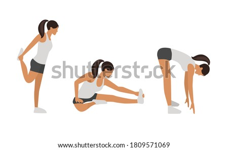Workout girl set. Woman doing fitness and yoga exercises. Lunges and squats, plank and abc. Full body workout. Warming up, stretching Stock photo ©