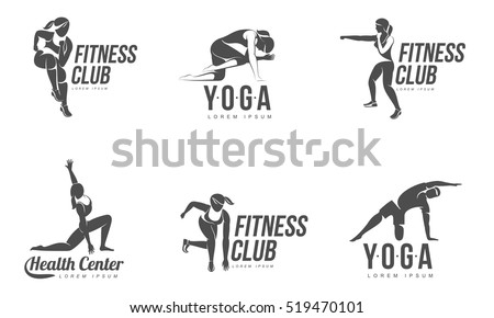 Workout logo. Fitness, Aerobic and workout exercise in gym. Vector set of workout logo isolated on white background.