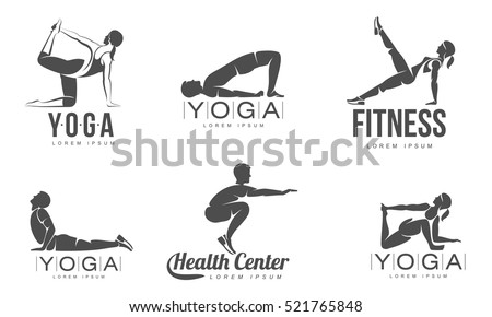 Workout Logo Fitness Aerobic And Exercise In Gym Vector Set Of