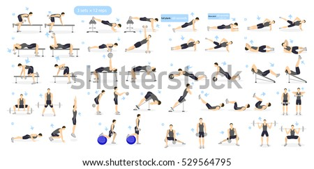 Workout man set. Male doing fitness and yoga exercises. Lunges and squats, plank and abc. Full body workout.
