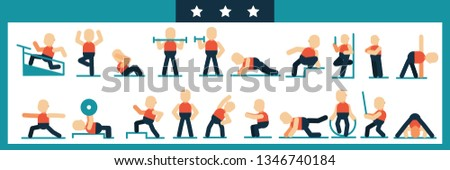 Workout man set. Male doing fitness exercises.