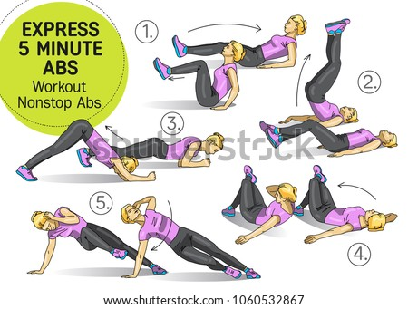 Workout Nonstop Abs, Fitness, sports, girl performs exercises step by step set of exercises, Freehand drawing