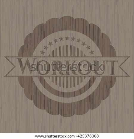 Workout wood icon or emblem