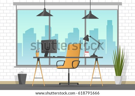 Workplace banner. Office theme flat style illustration. Vector table in empty office room. Designer cabinet in white room.