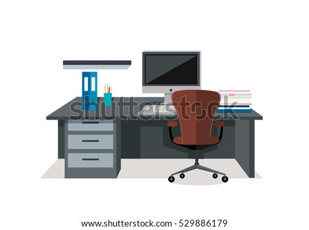 workplace conceptual vector web banner flat style office room with armchair computer monitor