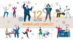 Workplace Conflict, Stress on Work Trendy Flat Vector Scenes Set. Business people Characters, Office Workers Arguing, Conflicting with Colleagues, Angry Boss Screaming on Company Employees Illustration