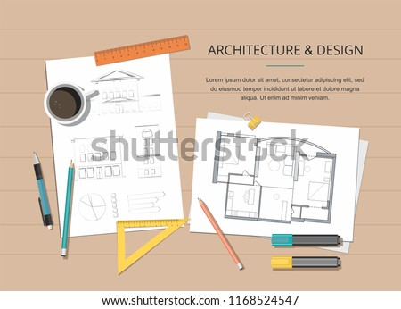 Workplace - Construction project architect house plan with tools, laptop and notebook. Construction background.  Vector Illustration