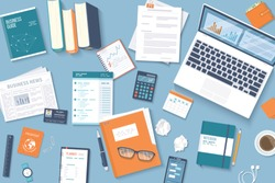 Workplace Desktop background. Top view of table, laptop, folder, documents, notepad, business card, purse, calendar, headphones, books,coffee, crumpled paper. Business background, organization. Vector