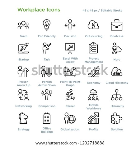 Workplace Icons - Outline styled icons, designed to 48 x 48 pixel grid. Editable stroke. #1202718886
