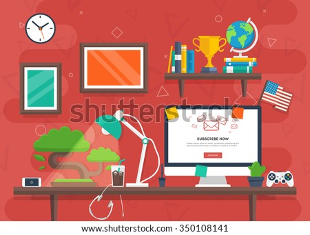 workplace in flat style with