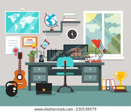 workplace in room vector flat