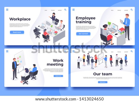 Workplace landing page. Office workers, brainstorm meeting and business team vector illustration set