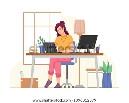 Workplace of freelancer woman working from home office, remotely and distant. Employee using laptop and computer for project. Brainstorming lady at workspace. Cartoon character, vector in flat style Photo stock ©