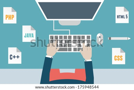 Workplace of programmer and process coding and programming. Workflow and planning. Flat design style - vector illustration