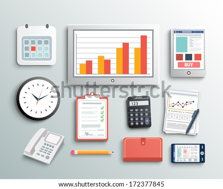 Workplace office and business work elements set Mobile devices and documents