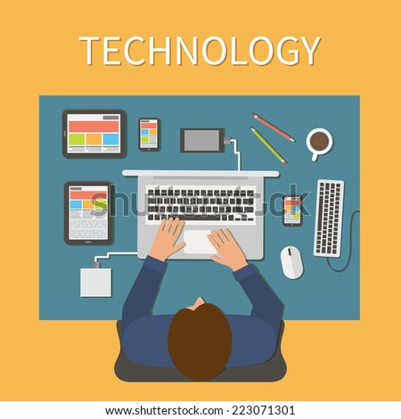 Workplace, office desk. IT technology and web design. Man working with laptop, digital devices.