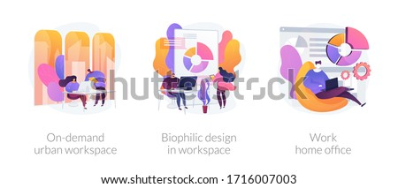 Workplace organization abstract concept vector illustration set. On-demand urban workspace, biophilic design, work home office, coworking, client meeting room, distance work abstract metaphor.