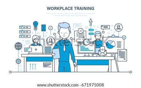 Workplace training, technology, communications, online learning, webinars, data and information sharing, knowledge, teaching. Illustration thin line design of vector doodles, infographics elements.