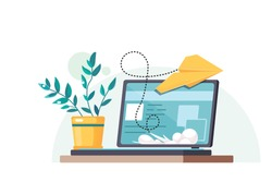 Workplace with a laptop and a flower in a pot. Yellow paper airplane. Concept design of the mailing list. Home office. Flat vector illustration.