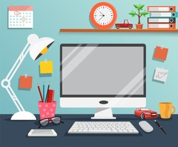 Workplace with computer ,The office of a creative worker - Vector illustration.