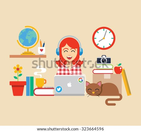 workplace with girl and cat