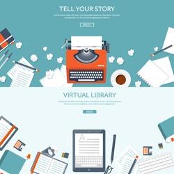 Workplace with typewriter. Flat design.Writing a blog,blogging.Storytelling technique.Copywriting.Retro typewriter with paper sheet.Blog development tools.Typing on manual typewriter.Create your blog.