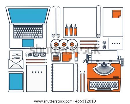 Workplace with typewriter. Flat outline design.Line art,lines.Writing a blog,blogging.Copywriting.Retro typewriter with paper sheet.Blog development tools.Typing on manual typewriter.Create your blog.