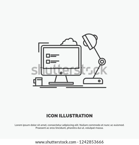workplace, workstation, office, lamp, computer Icon. Line vector gray symbol for UI and UX, website or mobile application