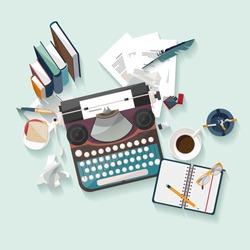 Workplace writer. Flat design.