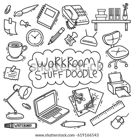 workroom stuff doodle isolated on white background