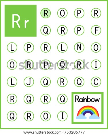 Worksheet. Alphabet activity for pre schoolers and kindergarten. Find the letter R and paint. Printable page.Painting page.Vector illustration. Stock photo ©