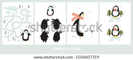 Worksheet for education with Cartoon cute penguins. Christmas paper activity with penguins. Maze, find the difference