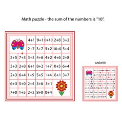 worksheet. The task -  go through those cells of the labyrinth, the sum of the numbers in which is 10. Mathematical puzzle game. Learning mathematics, tasks for addition  for children.