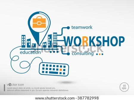 Workshop and marketing concept. Workshop concept for application development, creative process.