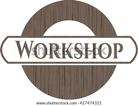 Workshop badge with wood background