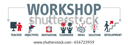 Workshop. Banner with keywords and icons