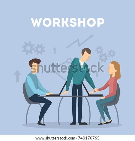 Workshop concept illustration. People on business meeting.