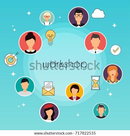 Workshop concept illustration. Team building, workshop, training skill. Communication Systems and Technologies.