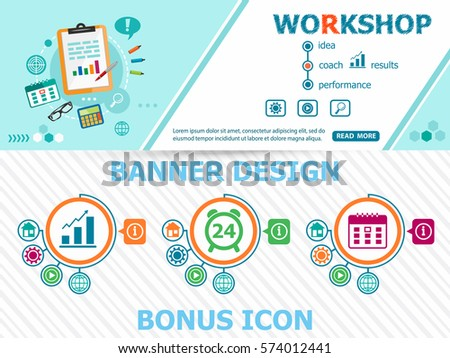 Workshop design concepts and abstract cover header background for website design. Horizontal advertising business banner layout template