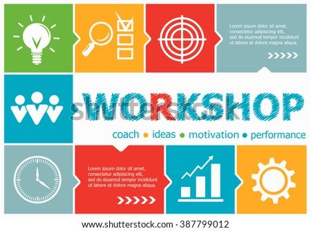 Workshop design illustration concepts for business, consulting, management, career. Workshop concepts for web banner and printed materials.