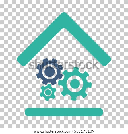 Workshop icon. Vector pictogram style is a flat bicolor symbol, cobalt and cyan colors, chess transparent background. Designed for software and web interface toolbars and menus.