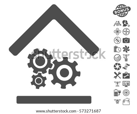 Workshop icon with bonus aircopter tools images. Vector illustration style is flat iconic symbols on white background.