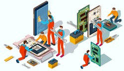 Workshop on repair of phones. People in workwear repair electronics and gadgets with special tools. Vector isometric illustration.