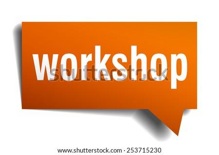 workshop orange speech bubble isolated on white. workshop sticker. workshop peeler. workshop sign. workshop speech bubble. workshop orange sign.