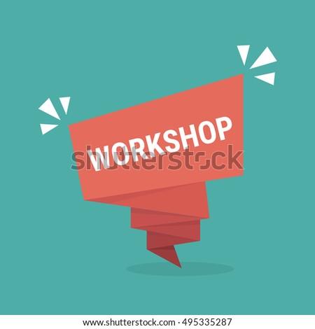 workshop, red vector workshop, paper bubble workshop