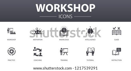 workshop simple concept icons set. Contains such icons as motivation, knowledge, intelligence, practice and more, can be used for web, logo, UI/UX