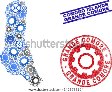 Workshop vector Grande Comore Island map collage and seals. Abstract Grande Comore Island map is done from gradient scattered cogwheels. Engineering geographic plan in gray and blue colors,