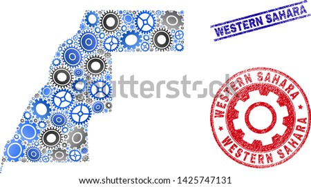 Workshop vector Western Sahara map collage and seals. Abstract Western Sahara map is done of gradient scattered cogwheels. Engineering territory scheme in gray and blue colors,