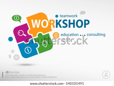 Workshop word cloud on colorful jigsaw puzzle. Infographic business for graphic or web design layout
